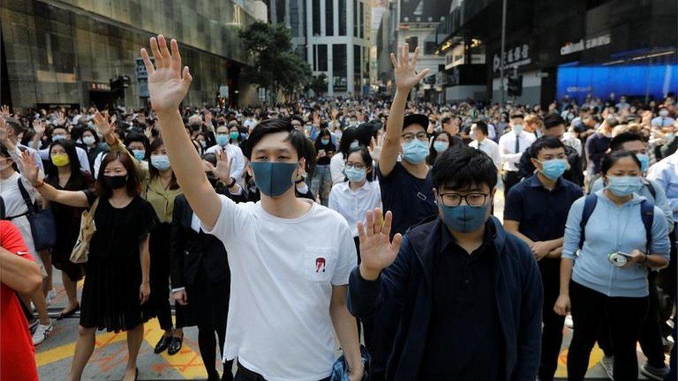 """香港""""反送中""""抗議爆發至今5個月"""