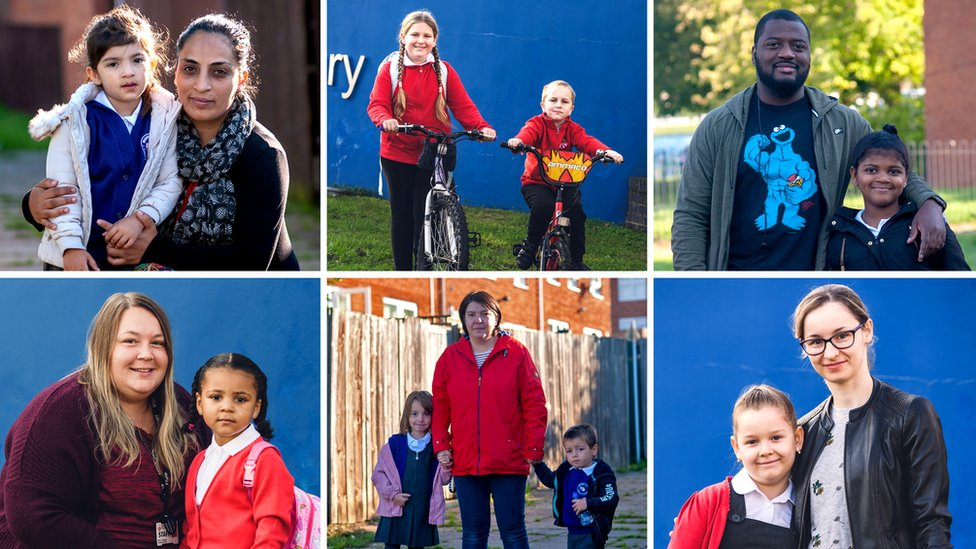 Une image composite des parents et des enfants lors de leur premier jour de retour à l'école