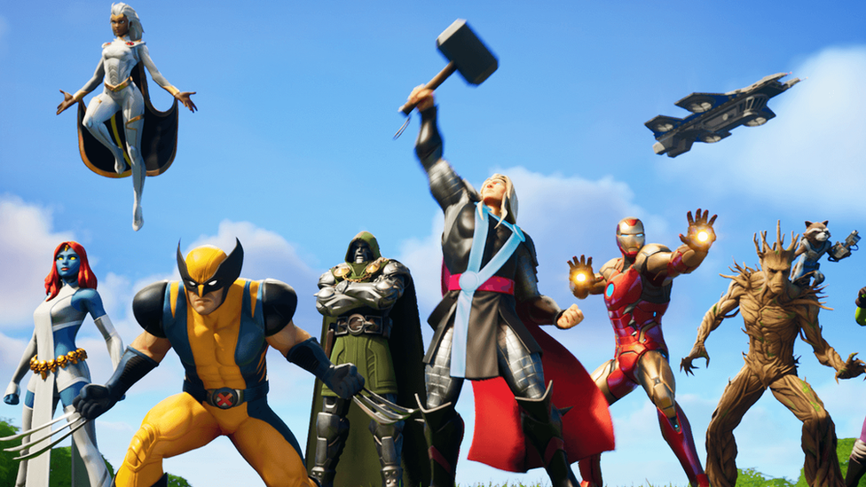A line-up of Marvel superheroes are seen in this promotional screenshot, left to right: Mystique, Storm, Wolverine, Doctor Doom, Thor, Iron Man, Groot, Rocket Racoon, She-Hulk, with a SHIELD Helicarrier aircraft visible in the sky in the top-right