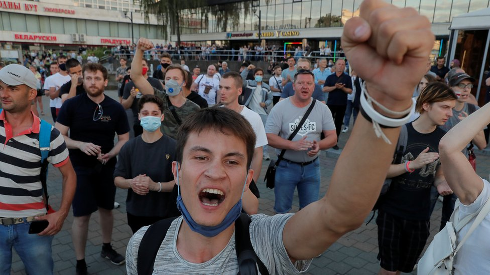 Image shows protesters after the Belarusian presidential election in Minsk