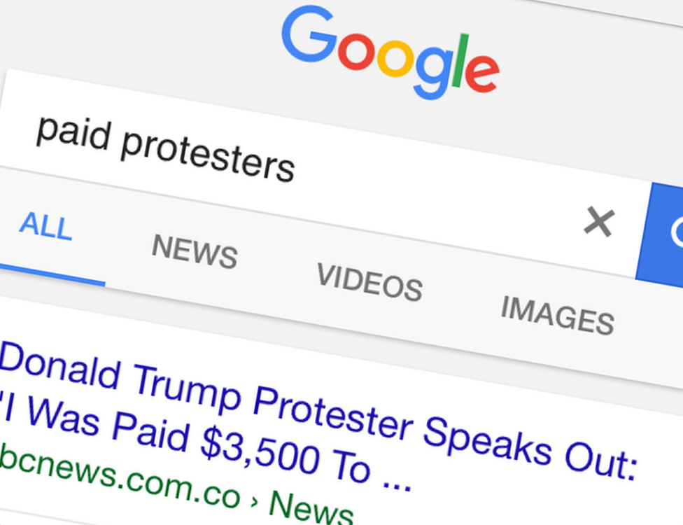 "Google search results for ""paid protesters"" returns a fake story as top result"