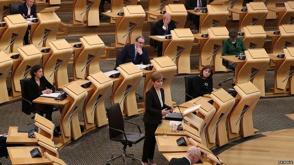 Nicola Sturgeon speaking in the Scottish Parliament
