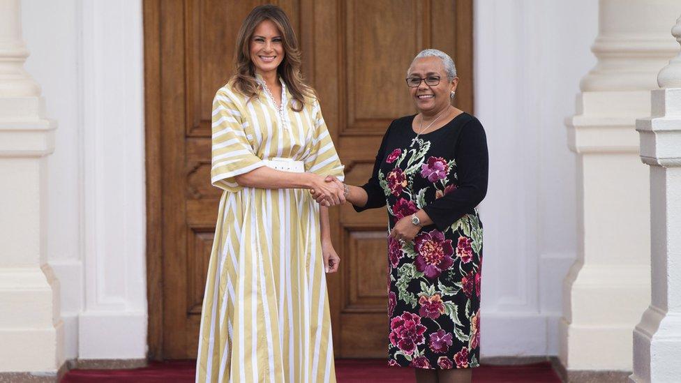 US First Lady Melania Trump meeting First Lady of Kenya Margaret Kenyatta