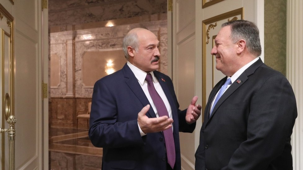 Belarusian President Alexander Lukashenko and US Secretary of State Mike Pompeo