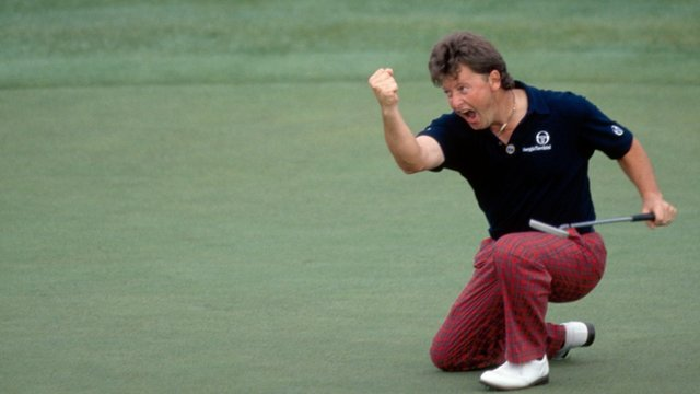 Ian Woosnam celebrates his final putt to win the 1991 Masters