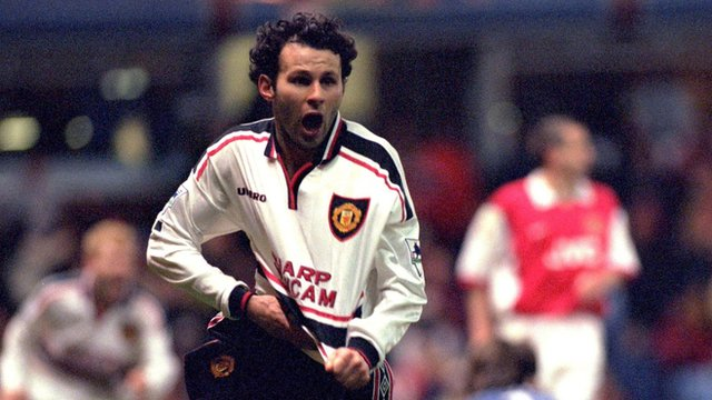 Ryan Giggs scores against Arsenal in a 1999 FA Cup semi-final replay at Villa Park