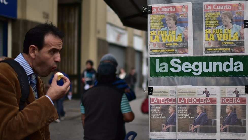 Newspaper stand in Chile