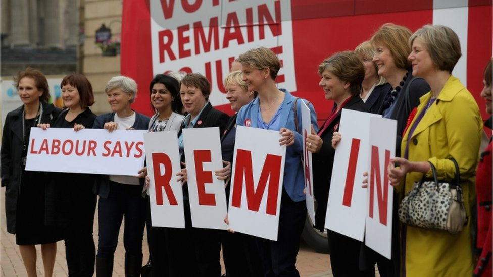 Labours Women In For Britain campaign pose for the media outside Birmingham Council House as they join the Labour In battle bus to campaign in the West Midlands
