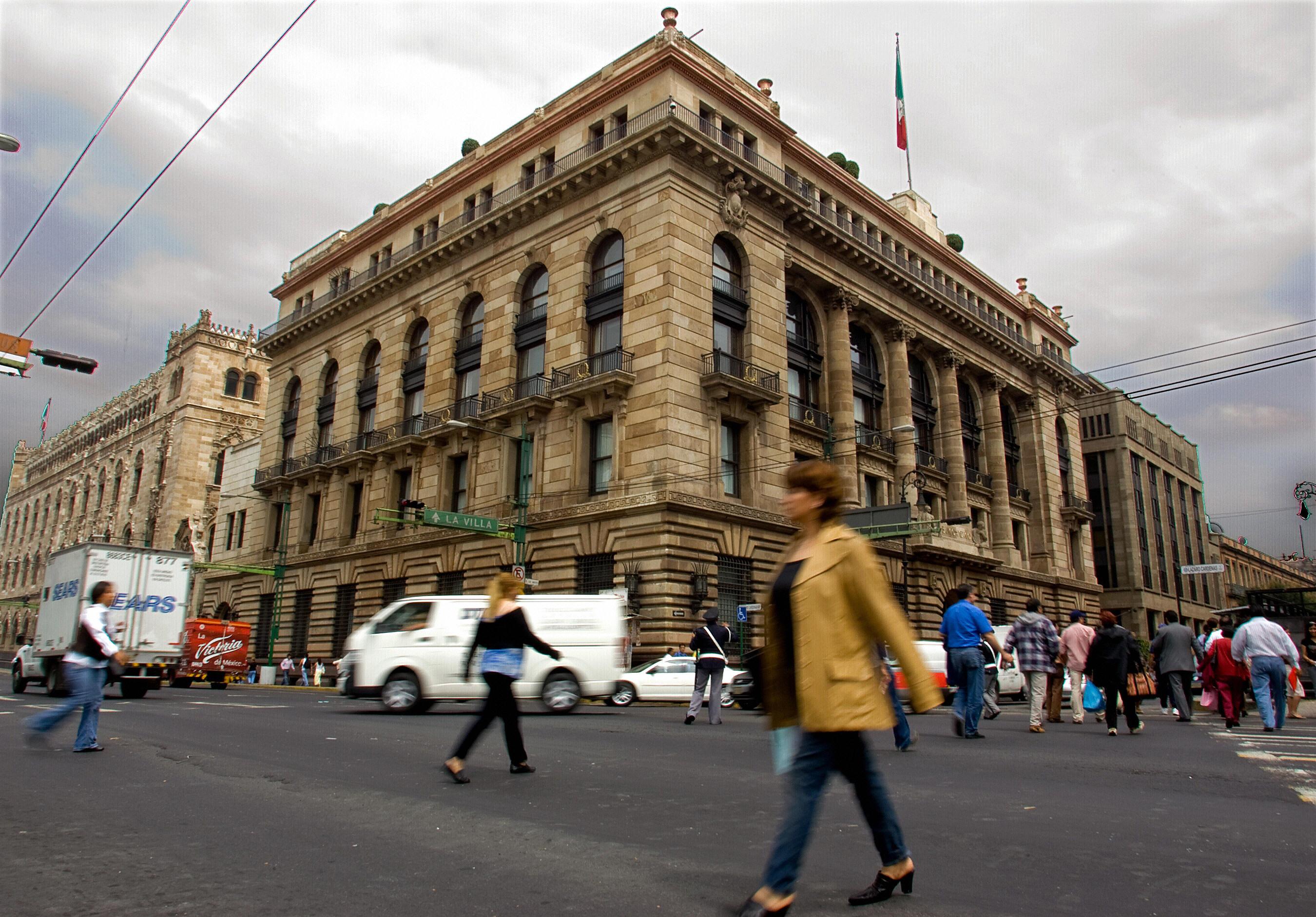 El edificio del Banco de México en Ciudad de México