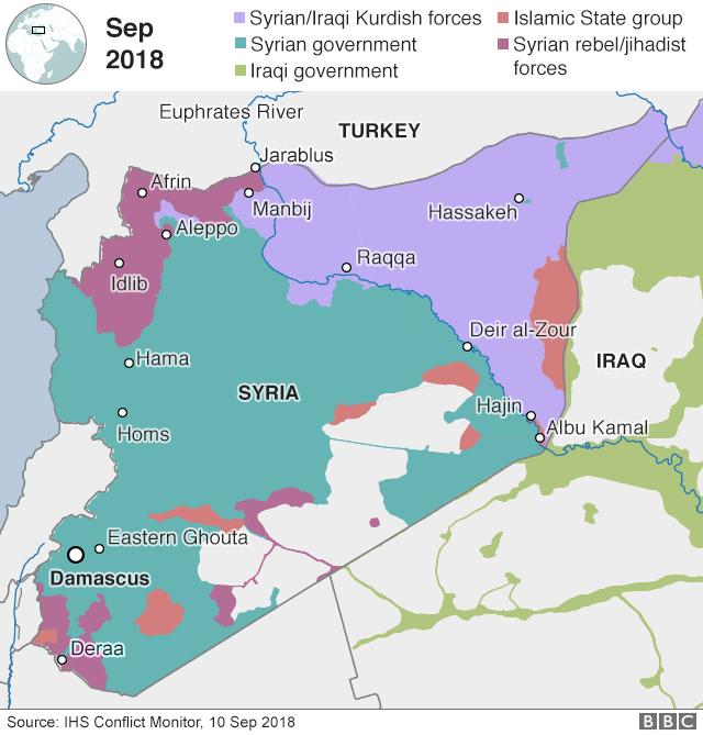 Peta yang menunjukkan kontrol Suriah dan lokasi Hajin (3 September 2018)
