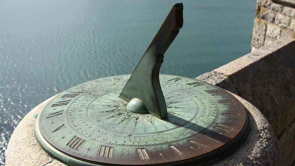 An ancient sundial on the castle walls of Saint Michael's Mount, Cornwall, England