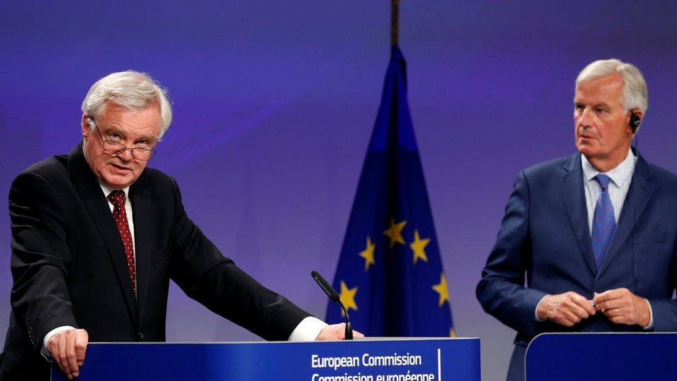 EU's Michel Barnier and UK Brexit Secretary David Davis, 31 Aug 17