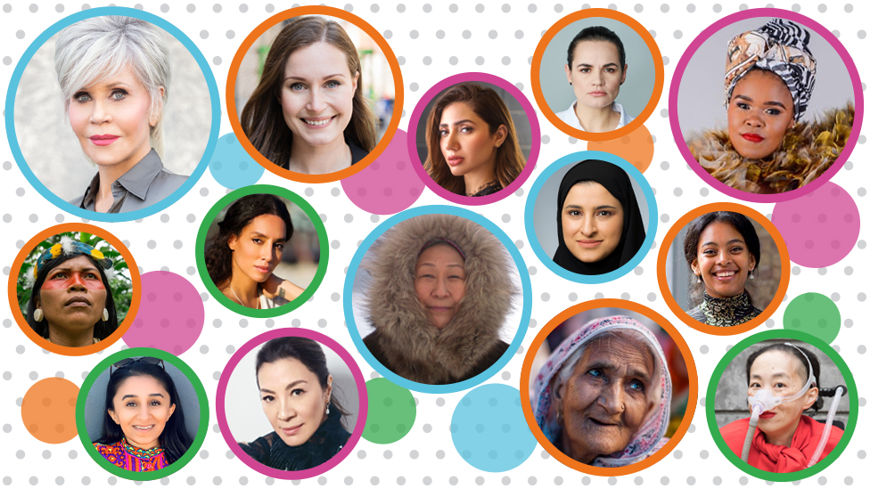Image shows selection of women from 2020 list