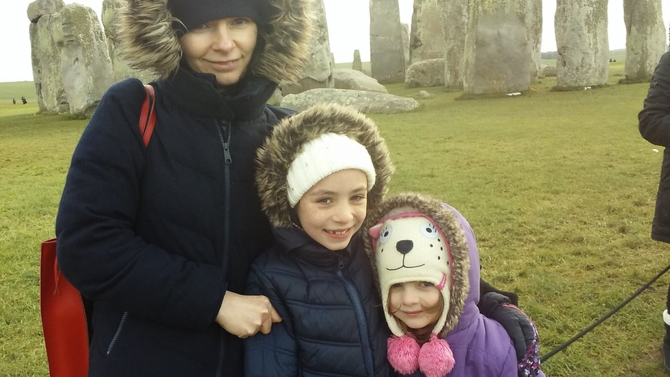 Sandrine Charpentier and her two daughters