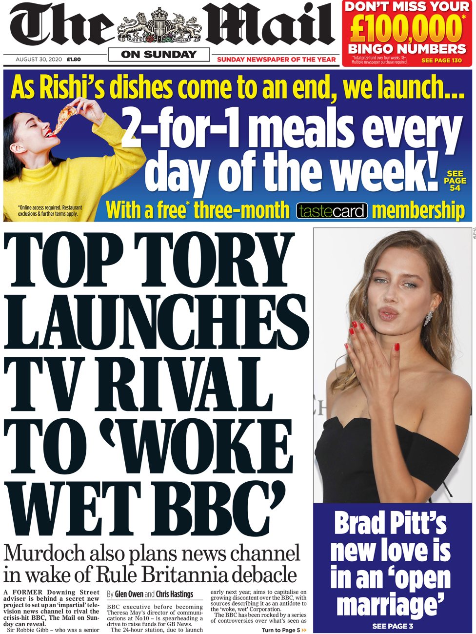 The Mail on Sunday front page 30 August 2020