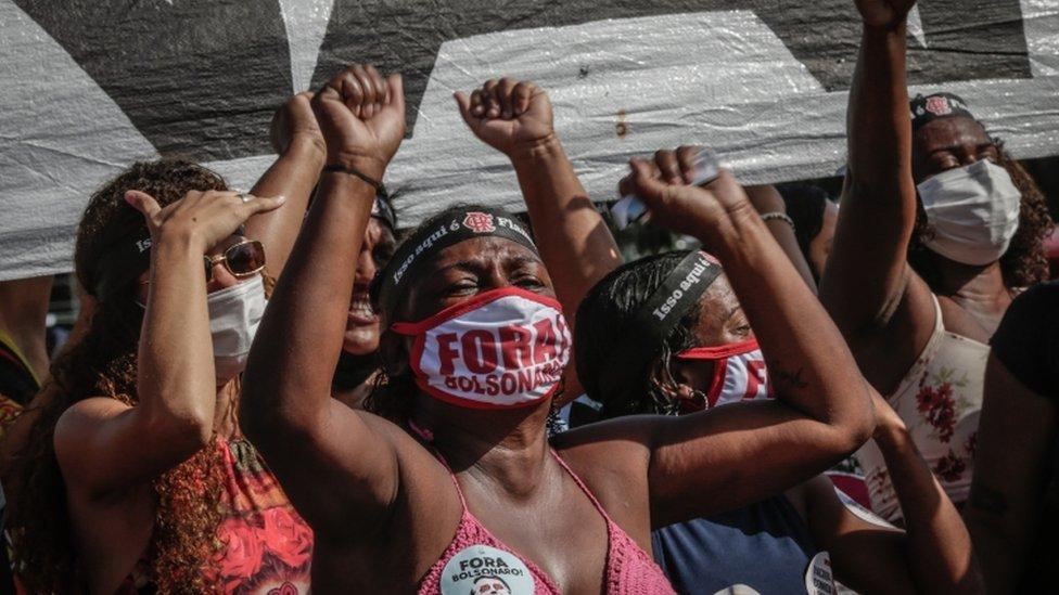 Protesta contra Jair Bolsonaro en Río, Brasil, 29 de mayo de 2021