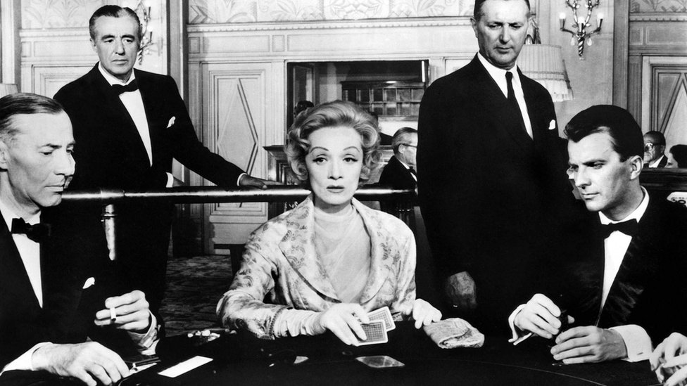 Image shows Florjancic on the far right in the 1957 film The Monte Carlo Story