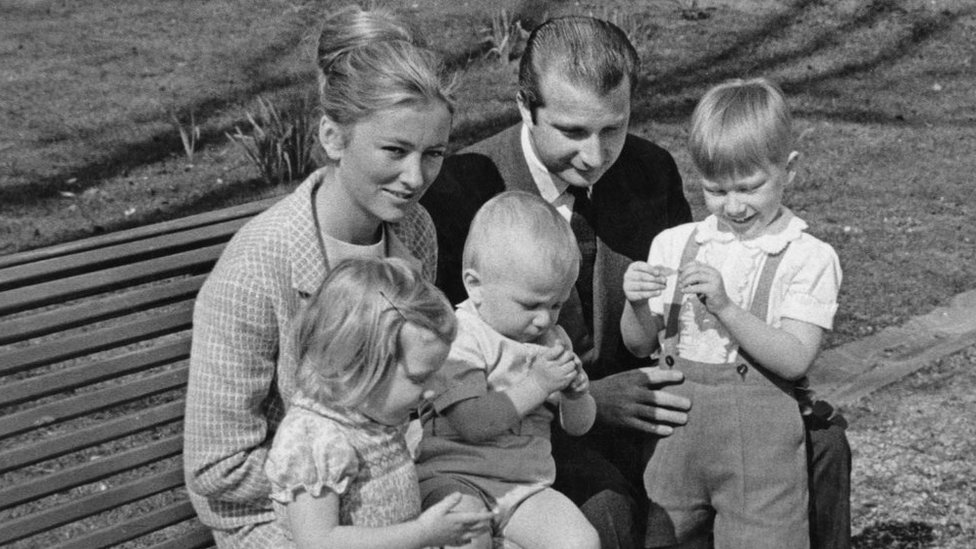 1969 archive photograph of Princess Paola of Belgium (later Queen Paola of Belgium) and Prince Alfred of Belgium with their children, Princess Astrid of Belgium (left), Prince Laurent of Belgium (centre), and Prince Philippe of Belgium