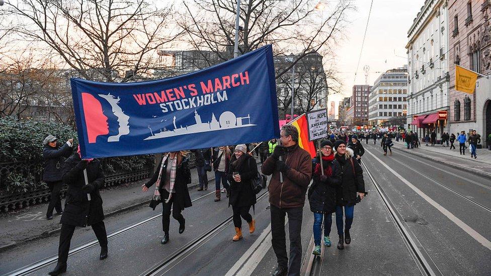 Marcha de mujeres en Estocolmo