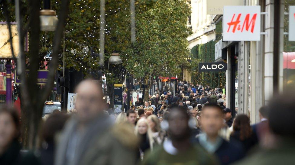 Shoppers in Oxford Street, London