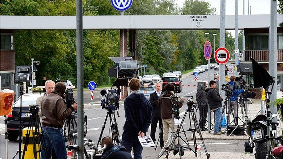 Journalists outside VW HQ