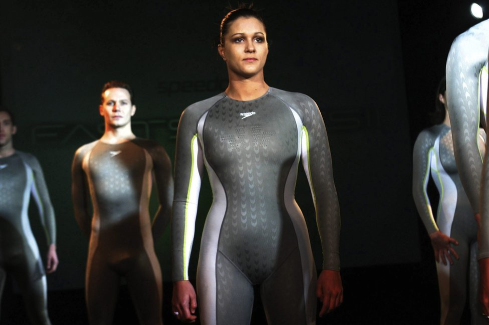 Models wearing Speedo Fastskin suits