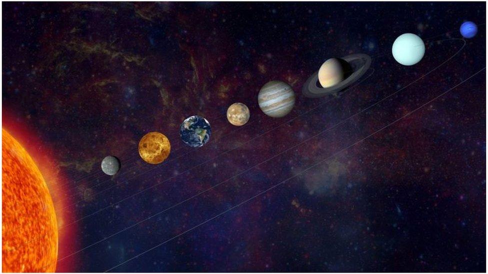 Ilustración del Sol y los planetas Mercurio, Venus, la Tierra, Marte, Júpiter, Saturno, Urano y Neptuno.