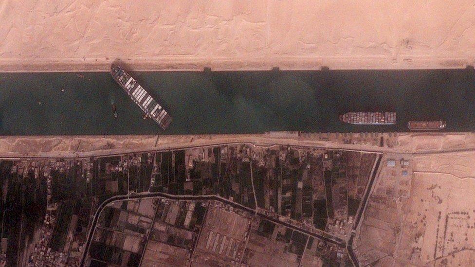 Barco Ever Given atravesado en el Canal de Suez