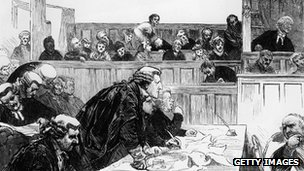 Solicitor General Sir John Coleridge representing the Tichborne family during the trial of the Tichborne Claimant, 1873 - 1874