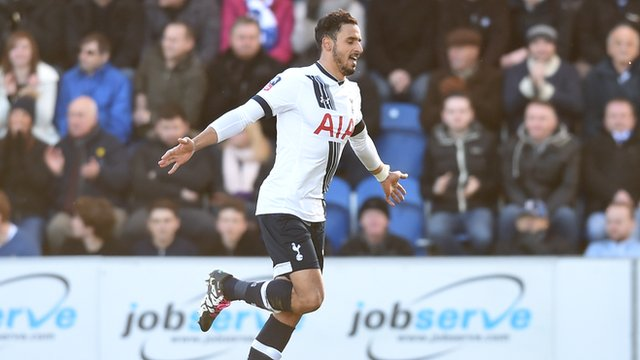 Nacer Chadli gives Tottenham the lead against Colchester
