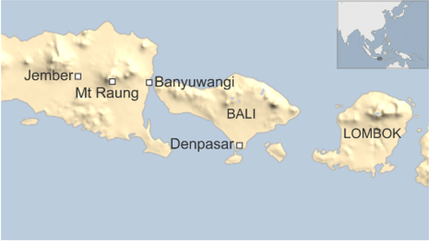 Map of Mt Raung and affected airports on 10 July 2015