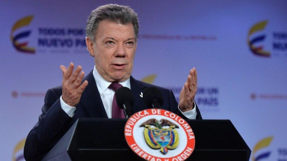 Presidente da Colômbia, Juan Manuel Santos, em discurso