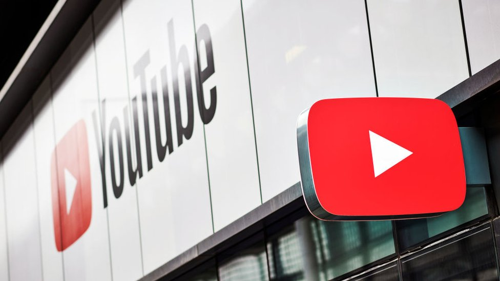 The YouTube logo is seen on this photo from a studio space in London