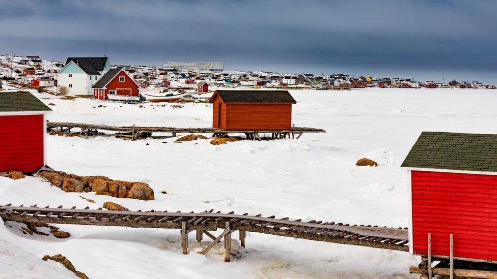 Casas en la isla Fogo, Terranova, Canadá