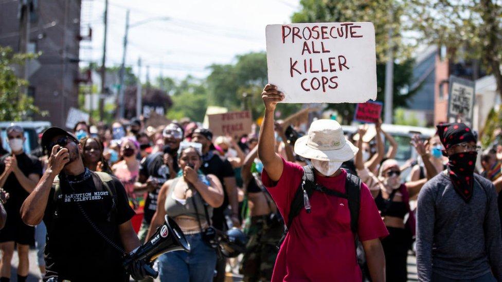 Una protesta antirracista en EE.UU.