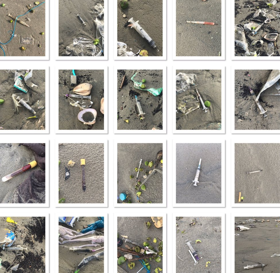 Pictures of medical waste on the beach