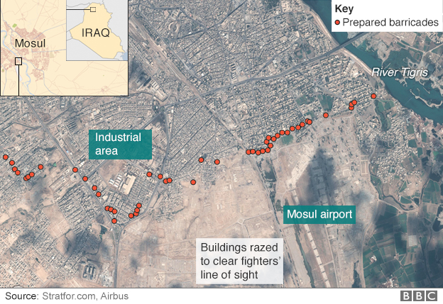 Map showing the location of IS barricades in Mosul