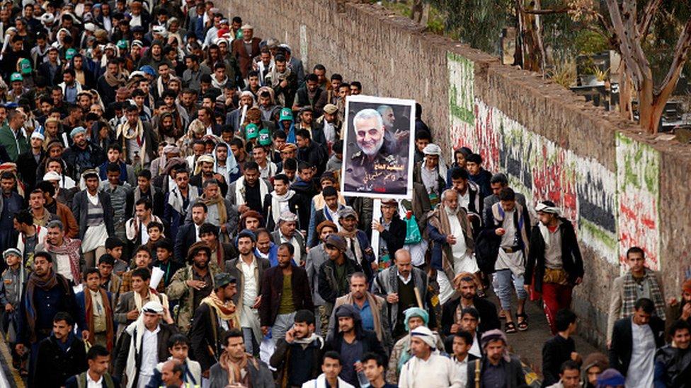 Yemen'deki Husiler, ABD'nin operasyonunda öldürülen İranlı komutan Kasım Süleymani için toplanmıştı