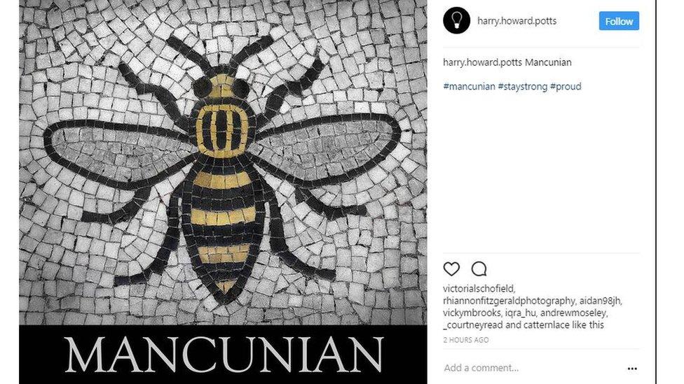 Bee on mosaic - text saying Mancunian