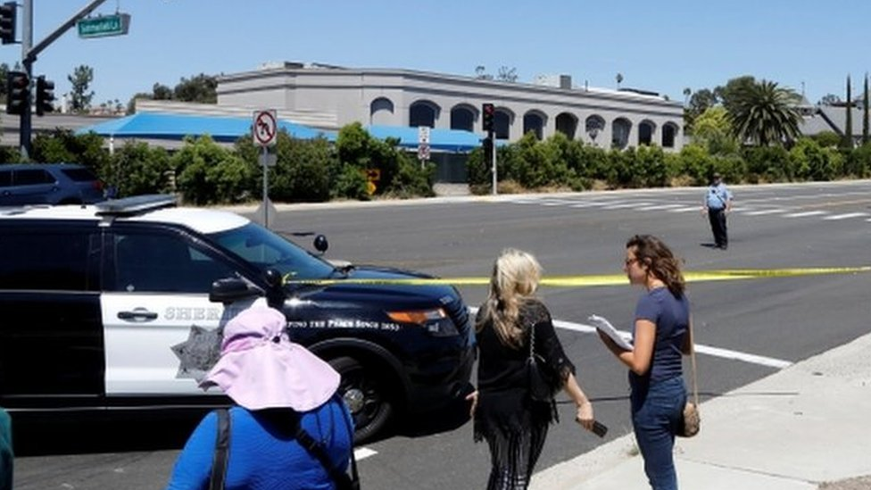 San Diego Police secure the scene of a shooting incident at the Congregation Chabad synagogue in Poway, north of San Diego, California, U.S. April 27, 2019