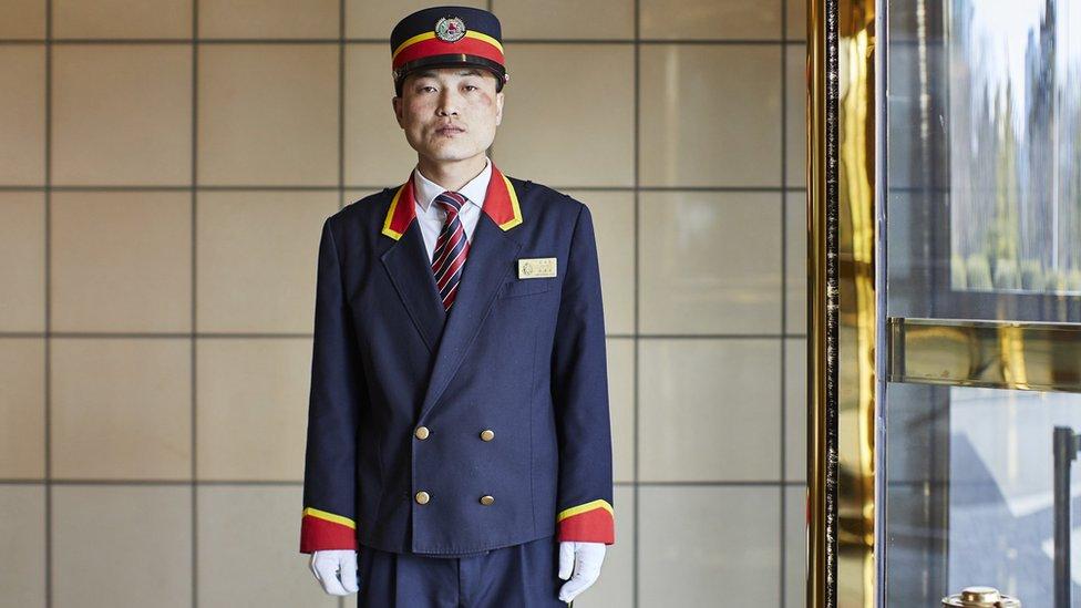 Bell boy at the Boonggang Hotel