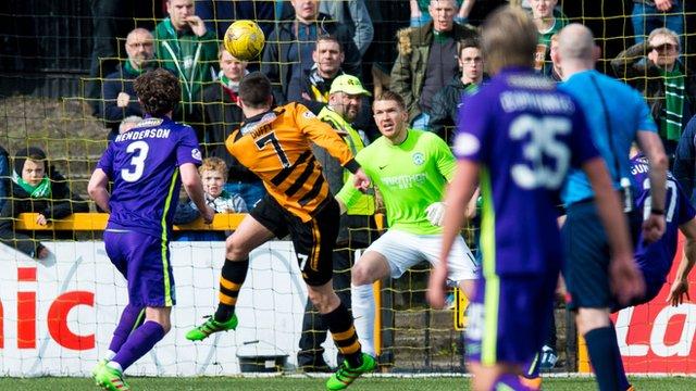 Michael Duffy scores for Alloa Athletic against Hibernian