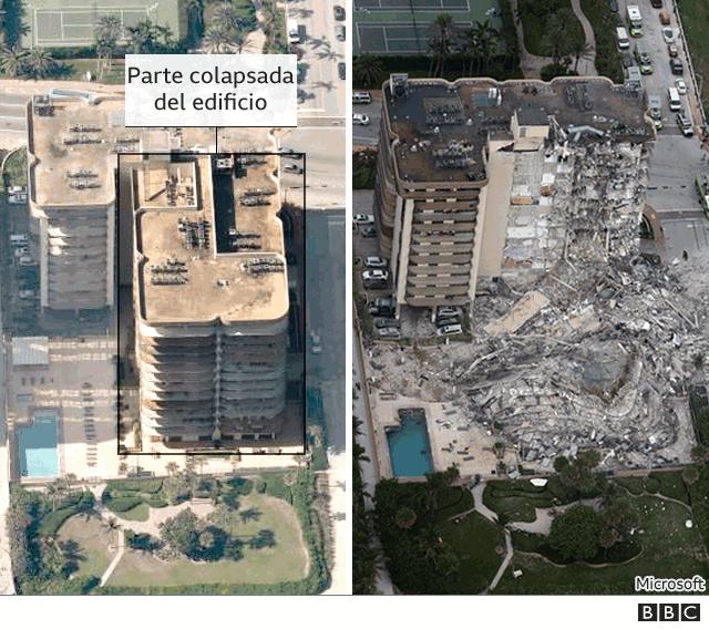 Antes y después del edificio derrumbado.