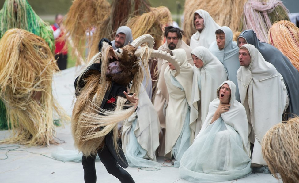 Artists perform during the opening show directed by German director Volker Hesse, on the opening day of the Gotthard rail tunnel - 1 June 2016