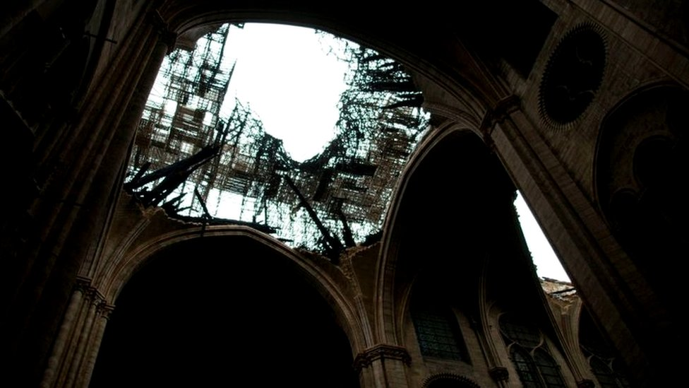 Close up - a look inside the fire-damaged cathedral