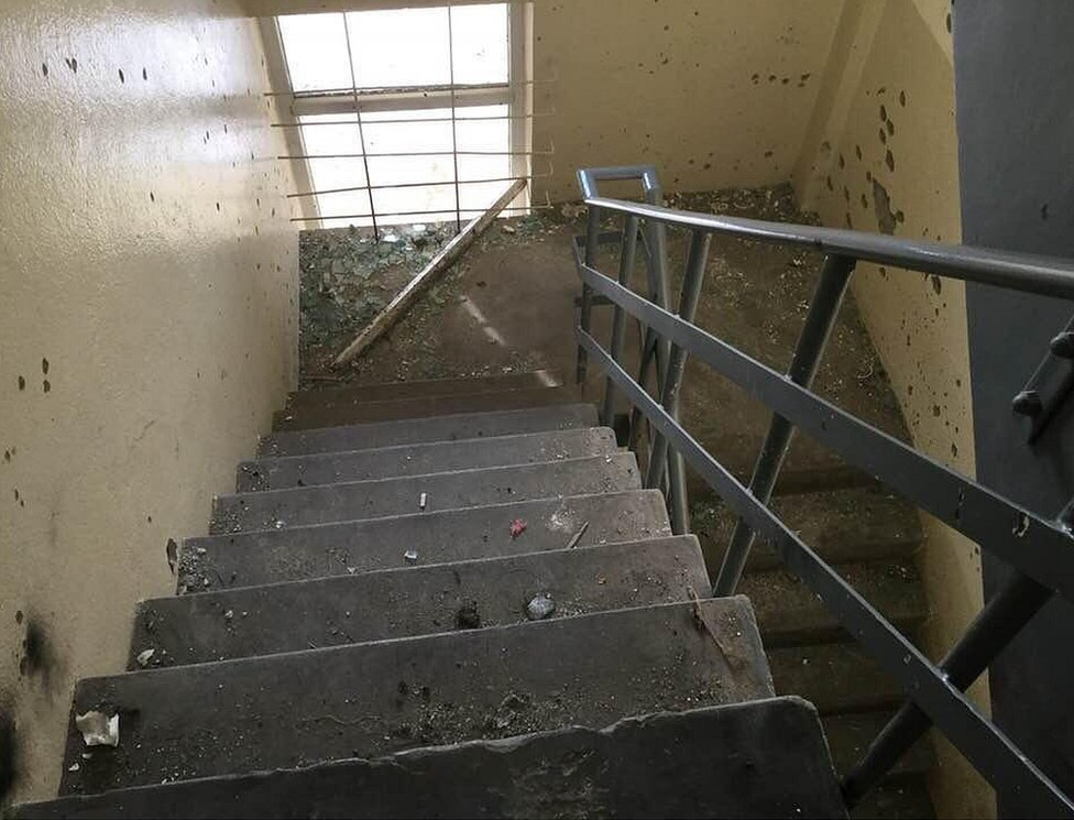 Damage in a stairwell at the Intercontinental Hotel in Kabul