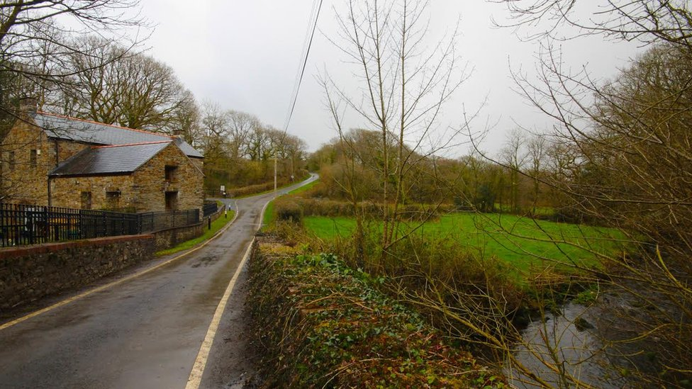 A view of the main road through the village of Horeb in Carmarthenshire