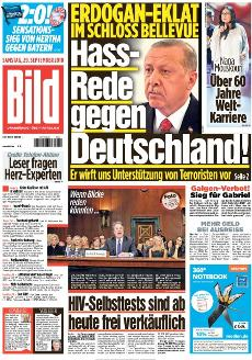 """Bild front page, reading """"Hate speech against Germany"""""""
