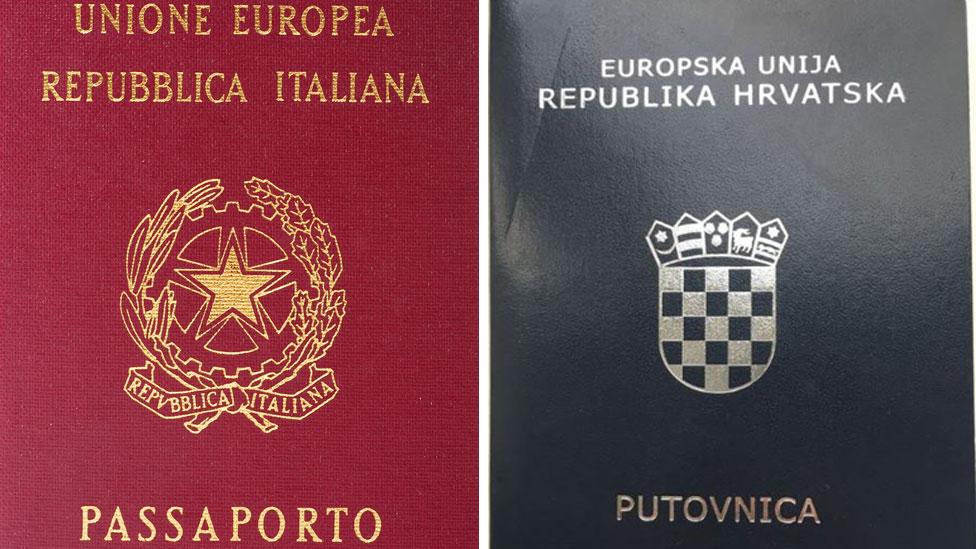 The Italian and Croatian passports