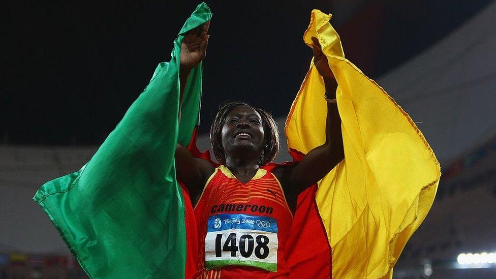 Francoise Mbango Etone celebrating in Beijing
